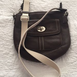 Brown Coach Leather crossbody.